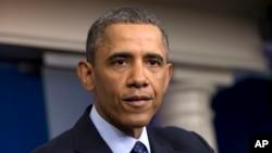 2013年3月1日星期五,奥巴马总统在白宫举行的记者会中谈论削减开支的问题。