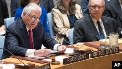 Ngoại trưởng Mỹ Rex Tillerson tại cuộc họp cấp Bộ trưởng của Hội đồng Bảo an Liên hiệp quốc hôm 28/4/17 bàn về tình hình Bắc Triều Tiên