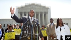 Ryan P. Haygood, director of the NAACP Legal Defense Fund, talks outside the Supreme Court.