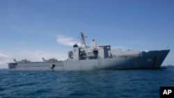FILE - The HTMS Angthong of the Royal Thai Navy is anchored near a deep sea port in Phuket province.