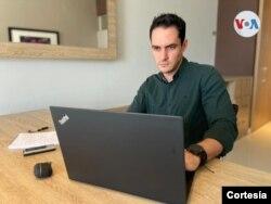 Álex Vásquez, corresponsal de la agencia de noticias Bloomberg en Caracas. Mayo, 2021. Foto: Cortesía
