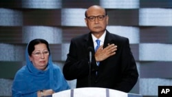 Khizr Khan, father of fallen U.S. Army Capt. Humayun Khan, is seen, with his wife Ghazala Khan looking on, during his speech at the Democratic National Convention in Philadelphia, July 28, 2016.