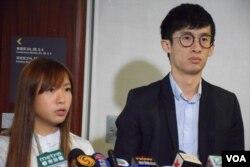 青年新政兩位立法會議員游蕙禎及梁頌恆。(美國之音湯惠芸)