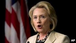 La exsecretaria de Estado Hillary Clinton habló en un foro en la Casa Blanca.