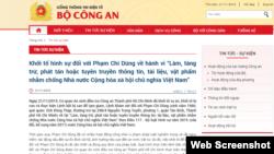 Cổng thông tin Bộ Công an VN đăng tin ông Phạm Chí Dũng bị bắt.