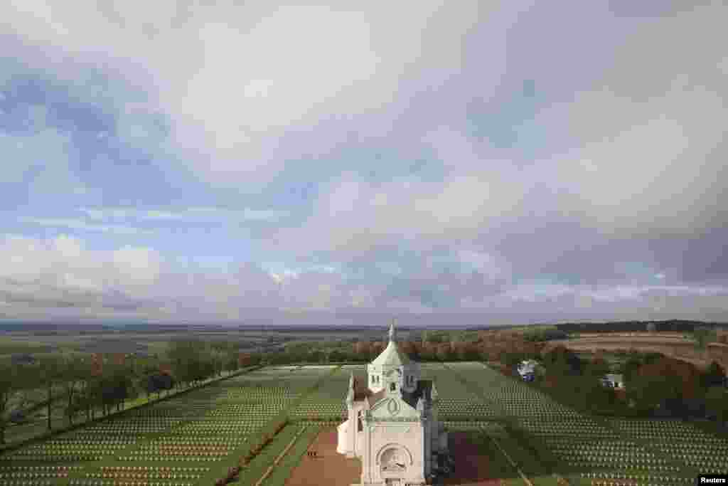 An aerial view of the French World War I Military Cemetery at Notre Dame de Lorette memorial in Ablain-Saint-Nazaire, northern France. The cemetery is the largest French military cemetery, with more than 40,000 soldiers buried here.