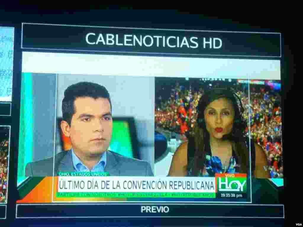 VOA Spanish reporter Celia Mendoza reporting from the RNC to affiliate station, Cablenoticias.