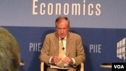 彼得森国际经济研究所资深研究员拉迪(美国之音莉雅拍摄)