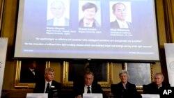 Dari kiri: Per Delsing, Staffan Nordmark, Anne L´Huillier dan Olle Inganas mengumumkan pemenang Nbel Fisika 2014 - Isamu Akasaki, Hiroshi Amano dan Shuji Nakamura - di Royal Swedish Academy of Science, Stockholm (7/10).