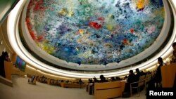 The Human Rights Council Universal Periodic Review session at the European headquarters of the United Nations in Geneva.