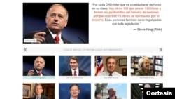 La página web presenta los rostros y los comentarios de los republicanos traducidos al español.