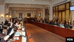 Los representantes de los países miembros de la OEA votaron en favor de un retiro de las tropas de Nicaragua del área en conflicto.