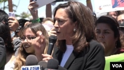 """Senator Kamala Harris (D-California) visited mothers held in the Immigration and Customs Enforcement detention center in Otay Mesa, California, and then spoke at a protest rally outside the facility, telling protesters that the mothers inside the facility were in ""utter despair."""