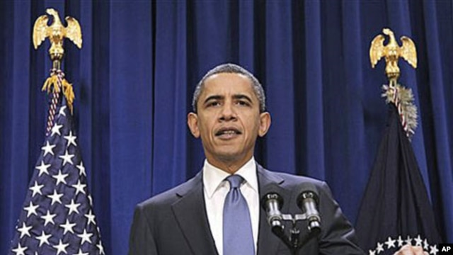 President Barack Obama delivers a statement to members of the media in the in the Old Executive Office Building, on the White House campus in Washington, Nov. 29, 2010