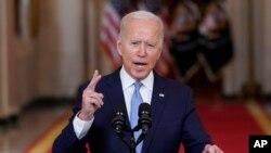 Joe Biden, Presidente americano, fala na Casa Branca sobre o fim da guerra no Afeganistão, 31 de Agosto de 2021