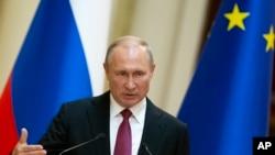 Predsednik Rusije Vladimir Putin govori tokom konferencije u Helsinkiju, Finska, 21. avgusta 2019.