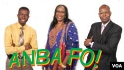 Modibo Dembélé (L), Kadiatou Traoré, and Mohamed Toure, hosts of Anba Fo