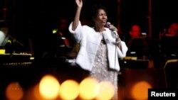 Aretha Franklin lors d'un gala à New York City, le 7 novembre 2017.