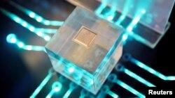 華為海思製作的芯片2019年3月21日在福建省福州舉行的華為中國經濟夥伴大會上展出。