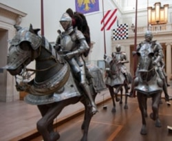 Armor on display in the Equestrian Court at the Met