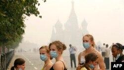 Смог на Красной площади в Москве