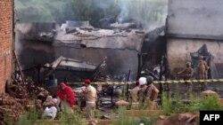 محل سقوط طیاره در راولپندی