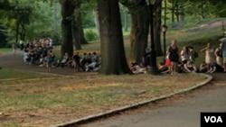 Antrian panjang untuk mendapatkan tiket 'The Merchant of Venice' di Central Park.
