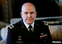 Newly named National Security Adviser Army Lt. Gen. H.R. McMaster listens as U.S. President Donald Trump makes the announcement at his Mar-a-Lago estate in Palm Beach, Florida, Feb. 20, 2017.