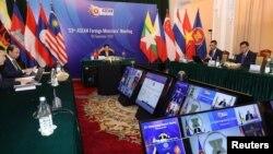 越南副總理兼外交部長范平明在河內主持東盟國家外長視頻會議。 (2020年9月9日)