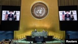 美國總統特朗普在聯合國大會發表視頻講話。(2020年9月22日)