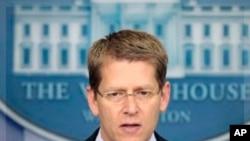 白宮新聞秘書卡尼在一次新聞發佈會上