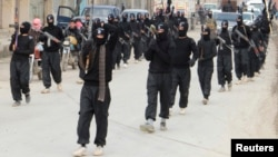 FILE - Fighters of al-Qaida linked Islamic State of Iraq and the Levant carry their weapons during a parade at the Syrian town of Tel Abyad, near the border with Turkey, January 2014.