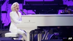 FILE - Lady Gaga performs during a hurricanes relief concert in College Station, Texas, Oct. 21, 2017.