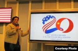 Kết quả thi vẽ logo kỷ niệm 20 năm quan hệ Mỹ-Việt được sứ quán Mỹ công bố hôm 5/12/2014 (Ảnh: Sứ quán Mỹ tại Hà Nội)