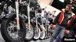 德国汉堡摩托车展上的哈雷戴维森摩托车 (2017年资料照)