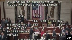 A bill passes the US House of Representatives