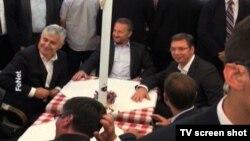 BiH delegacija i srpski premijer u Knez Mihajlovoj posle sastanka, Beograd 22. jul 2015.