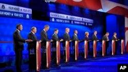 28일 미국 콜로라도 주 CNBC 스튜디오에서 미국 공화당 대선 후보들의 3차 TV 토론회가 열렸다.