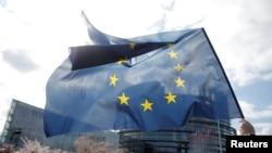 Arhiva - Demonstrant drži zastavu Evropske unije ispred zgrade Evropskog parlamenta u Strazburu, Francuska, 26. marta 2019.
