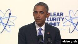 Presiden AS Barack Obama berbicara pada penutupan KTT Keamanan Nuklir di Washington, Jumat (1/4).