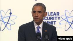 بارک اوباما حین کنفرانس خبری پس از نشست امنیت هسته یی در واشنگتن