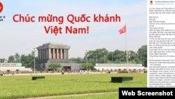 Lời chúc mừng của Tổng thống Đức trên trang Facebook của cơ quan đại diện ngoại giao của Berlin ở Hà Nội.