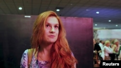 Accused Russian agent Maria Butina speaks to camera at 2015 FreedomFest conference in Las Vegas, Nevada, U.S., July 11, 2015 in this still image taken from a social media video obtained July 19, 2018.