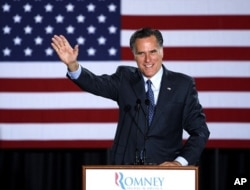 លោក Mitt Romney ប្រកាសពីជ័យជម្នះកាលពីថ្ងៃទី៣មេសា។