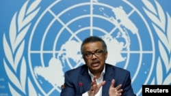 Umuyobozi wa OMS, Tedros Adhanom Ghebreyesus mu kiganiro n'abanyamakuru ku kigo ca ONU i Geneva, mu Busuwise, itariki 14/08/2018.