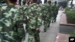 """图为当局出动武警""""维稳""""万盛区示威抗议"""