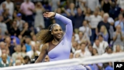 FILE - Serena Williams celebrates after defeating Anastasija Sevastova, of Latvia, during the semifinals of the U.S. Open tennis tournament, Thursday, Sept. 6, 2018, in New York.