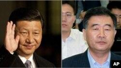 中國國家副主席習近平(左)和廣東省委書記汪洋