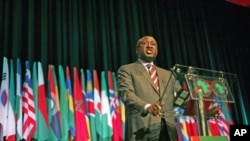 African Development Bank President Donald Kaberuka gives a speech at the annual meeting of the bank in Lisbon, Portugal, June 2011.