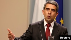 Bulgarian President Rosen Plevneliev speaks during news conference, Sofia, May 15, 2013.
